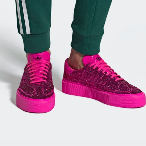 Sambarose NWT Glitter Pink Platform Adidas Sneakers xrdeWCBo